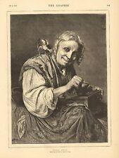 Elderly Woman, Grinding Coffee, Chicken On Her Shoulder, 1874 Antique Art Print