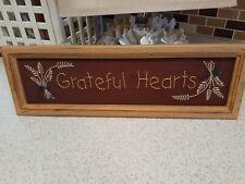 "18""x6"" Grateful Hearts Needlepoint Sign"