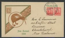 New Zealand, Fdc, #227(2), W/Nice Brown & Green Cachet, 1938