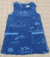 Lilly Pulitzer Equestrian Shift Dress Girls 2T Soft Blue Corduroy Horses Riding