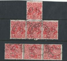 1930 Aust KGV 2d scarlet OS SG O104 sm. multi wmk 13x12 fu 7 stamps in pairs