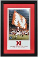 Nebraska Cornhuskers 5-Time Football National Champs 10x18 Framed Legacy Print