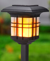 4-In-1 Solar Flickering Flame Lantern Porch Patio Deck Garden Fence Post Light