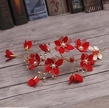 Wedding Bridal Vintage Gold Leaf Red Flower Pearl Tiara Headpiece Hair Piece