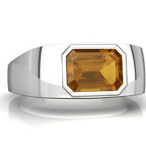 Natural Citrine Gemstone With 925 Sterling Silver Ring For Men's #B91