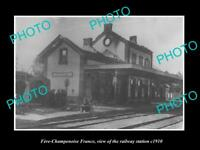 OLD LARGE HISTORIC PHOTO FERE CHAMPENOISE FRANCE THE RAILWAY STATION c1910