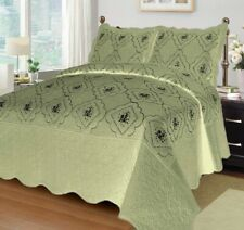 FLOWERS EMBROIDERED BEDSPREAD COVERLET SET 3 PCS QUEEN SIZE SAGE COLOR