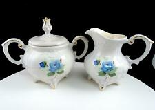 """LOMA POTTERY VICTORIAN BLUE ROSE & EMBOSSED 5 1/8"""" CREAM AND SUGAR SET"""