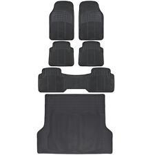 Full 3 Row Car Rubber Floor Mats Black All Weather w/ Cargo Trunk Mat Max Duty