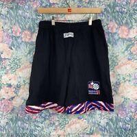 Vintage NWT Zubaz USBL Mens MED Black Made in USA Deadstock Basketball Shorts