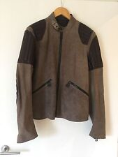Bnwt Belstaff Kempsey Blouson Jacket Beige Suede Brown Leather Medium Italian 48