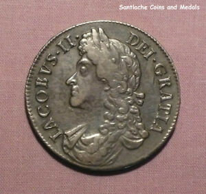 1688 KING JAMES II SILVER CROWN - NICE GRADE COIN WITH TICKET - 8 over 7 in Date