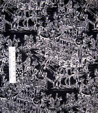 Folklorico Fabric - Deadwood Saloon Skull Skeleton Black - Alexander Henry YARD