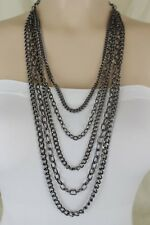 Women Long Pewter 5 Strands Metal Chain Fashion Jewelry Necklace + Earring Set