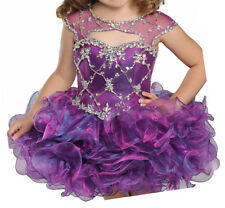 Baby Girls Crystal Mini Cupcakes Birthday Party Ball Gowns Short Pageant Dresses