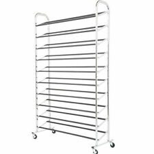 New Metal 50 Pair 10 Tier Shoe Tower Rack Free Standing Space Saving Storage 59