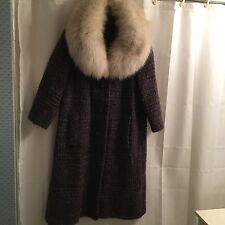 Vtg 60 FOX Soft HUGE Fur COLLAR Stroller WOOL Mohair SWING Jacket Cape COAT S M
