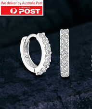 18K White Gold GF Huggie Clear Crystal Earrings Aus stock!On Sale!