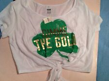 Victorias Secret PINK Crop Shamrock Gimme the Gold T shirt NWT S St Patty's Day