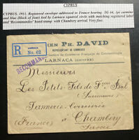 1911 Larnaca Cyprus Commercial Cover To Chambery France