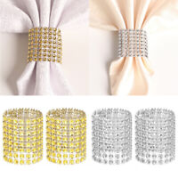 Pack 50/100/200 Wedding Diamond Rhinestone Napkin Rings Mesh Wrap Buckle Banquet