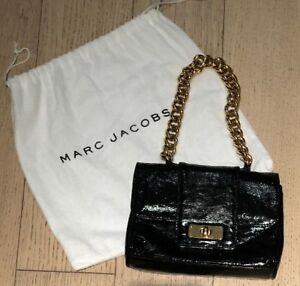 EUC MARC JACOBS Distressed Patent Leather Mini Bag - Black with Gold Chain