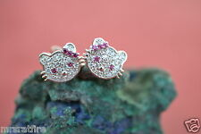 Hello Kitty Sterling Silver Stud Earrings~ Petitie, Micro-Pave Crystal, pk, USA!