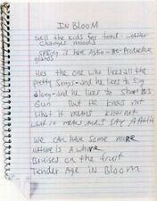 KURT COBAIN / NIRVANA Handwritten Lyrics 'In Bloom' Rock Band / Singer preprint
