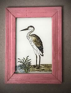 VINTAGE INDIAN REVERSE GLASS PAINTING. BLACK & WHITE HERON IN ART DECO FRAME.