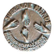 Bronze Plakette suchende Hände doppelseitig 9,5cm Durchmesser