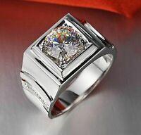 2.Ct Round Cut D/VVS1 Diamond Men's  Wedding Band Ring In 14K White Gold Over