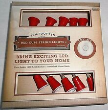 RED CUPS LED String Light Set 10 Ct  Battery Operated with 4 Hour Timer