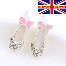 ballet shoe earrings rhinestone studded dancing stud ballerina punk dance gift