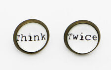 Think Twice Earrings Funny Quote Words Cool Hipster White Stud Earring Gift Idea