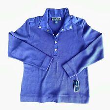 Karen Scott Sport size XL Medieval blue funnel neck long sleeve top 1/2 button