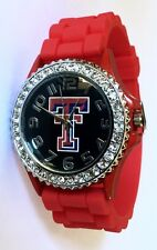 Ladies Girls NCAA Texas Tech Red Raiders Silicone Rubber Geneva Watch