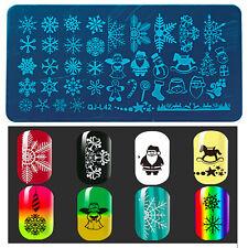 Diseños de copo de nieve Navidad para Uñas Stamping Placa Sello imágenes placas se Reino Unido..