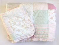 Simply Shabby Chic Pink Roses Patchwork Chenille Twin Quilt Coverlet Sham SET