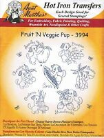 Fruit & Veggie Pup Aunt Martha's Hot Iron Embroidery Transfer #3994