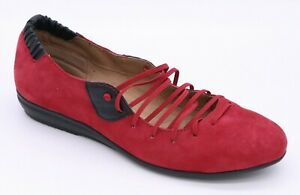 COMFORTIVA EXCEL FIRE RED SUEDE COMFORT SHOES ELASTIC LACE SLIP ON PILLOWTOP