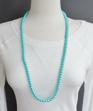 """turquoise faux pearl necklace 30"""" long pearly beads 8mm bead long necklace"""