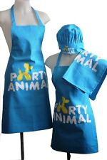 Kids Childrens Chef Hat Cooking Apron Set Unisex Baking BBQ Kitchen Party Animal