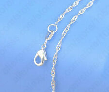 """1mm 925 Stamped Silver Water Wave snake Chain Singapore necklace pendant 16-30""""T"""