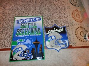 Seattle Seahawks sign lot (2) Property of, Seahawks Shield New & Vtg man cave