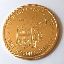 1967 NFL NEW ORLEANS SAINTS VTG 1st SEASON SCHEDULE FALSTAFF BEER DOUBLOON COIN