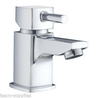 SQUARE SMALL MINI CLOAKROOM BASIN MONO MIXER TAP WITH CLICK CLACK PUSH WASTE ST