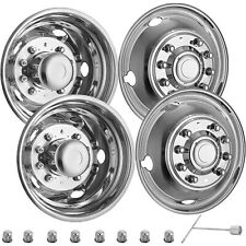 "4 PCS 19.5"" Dually Wheel Simulators Set For FORD F450-F550 05-20 Rim Hub Caps On"