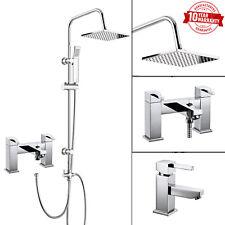 3 Vie Doccia Quadrato Rigido Riser Kit, Rubinetto miscelatore doccia da bagno, rubinetto lavabo MONOBLOCCO