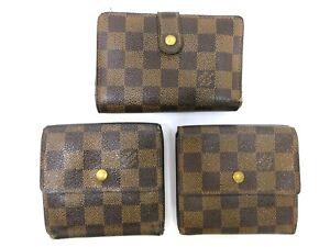 Authentic 3 Item Set LOUIS VUITTON Damier Wallet PVC Leather 94685
