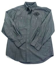 Harley-Davidson Mens Button Front Shirt Gray Stripe Two Pockets Long Sleeve S